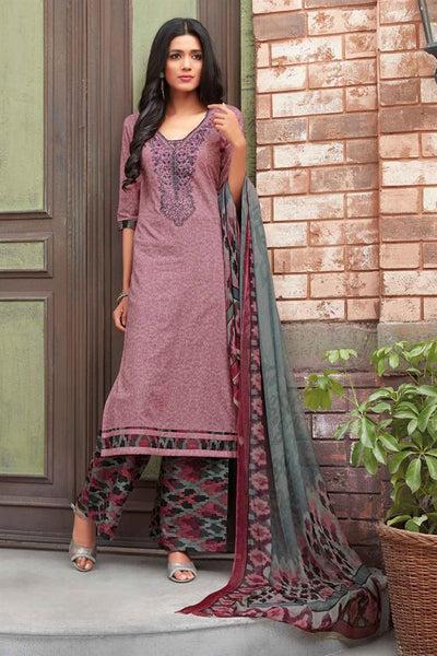 Designer Mauve Color Partywear Dress Material With Printed & Thread Embroidery Work Salwar Suit