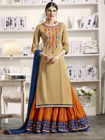 Long Kurtas With Skirt Style Salwar Suits