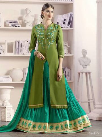 Traditional Mehendi & Sea Green Color Long Skirt And Kurti