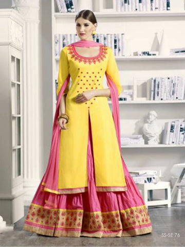 Fancy Yellow & Pink Salwar Kameez With Floral Embroidery Work