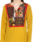 Designer Cotton Yellow Kurti For Women