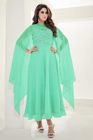 Partywear Light Green Faux Georgette Designer kaftan Style Sleevless Long Kurti