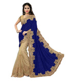 Designer Multicoloured Embroidered Blue Velvet Net Classic Wedding Saree Embroidery border work