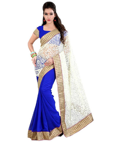 Holi Special Designer Blue And Cream Color Chiffon Saree For Women