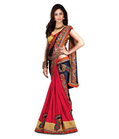 fs-14-designer-chiffon-sarees-floral-border-peacock-embroidered-work-festival-saree
