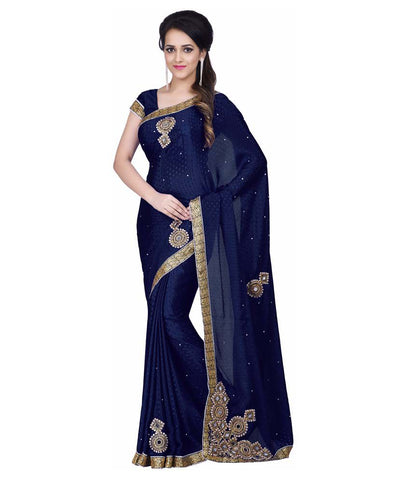 fs-16-latest-festival-sarees-blue-chiffon-sarees-with-lace-border-and-stone-mirror-&-thread-work-sarees