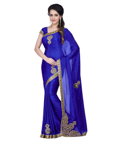 Designer Holi Special Blue Chiffon Mirror Work Saree For Women