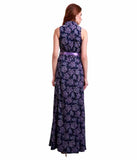 Latest Designer Navy Blue Polyester Sleeveless Long Maxi Paisley Printed Summer Maxi Dress For Women