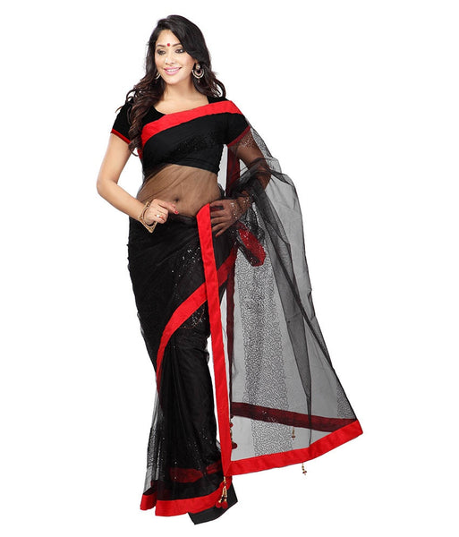 Black Color Net Saree Designed With Embroidery & Lace Work