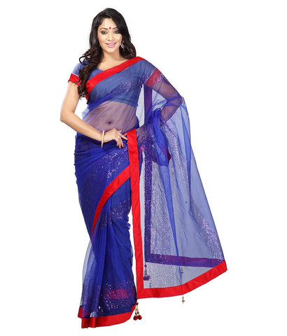 Blue Color Net Saree Designed With Embroidery & Lace Work