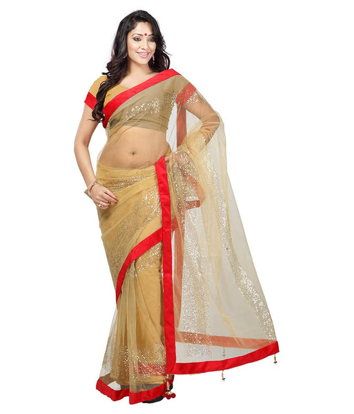 Golden Color Net Saree Designed With Embroidery & Lace Work