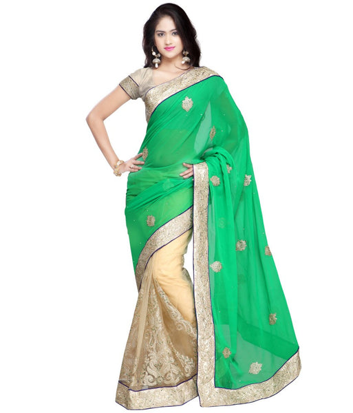 Green & Beige Color Net Saree Designed With Patch, Stone, Lace Border Work Designer Net Sarees