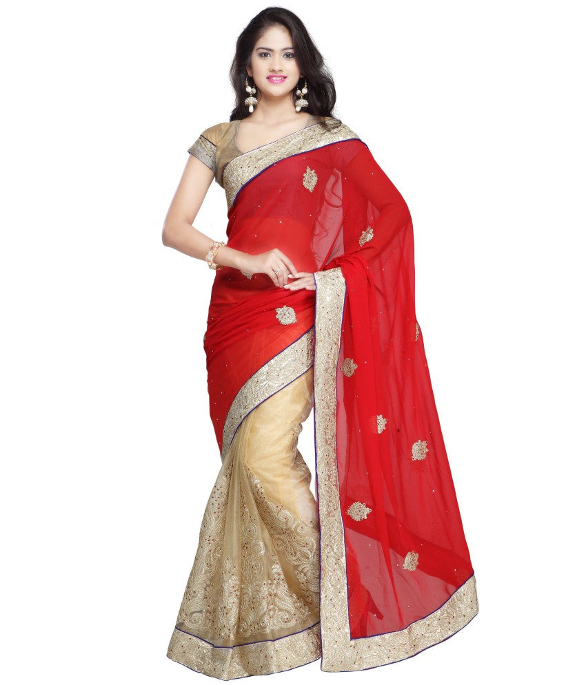 2a589eed7d01d4 Shop Now Bridal Red   Beige Color Net Saree Designed With Patch ...