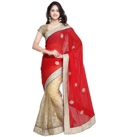 Bridal Red & Beige Color Net Saree Designed With Patch, Stone, Lace Border Work Designer Net Sarees
