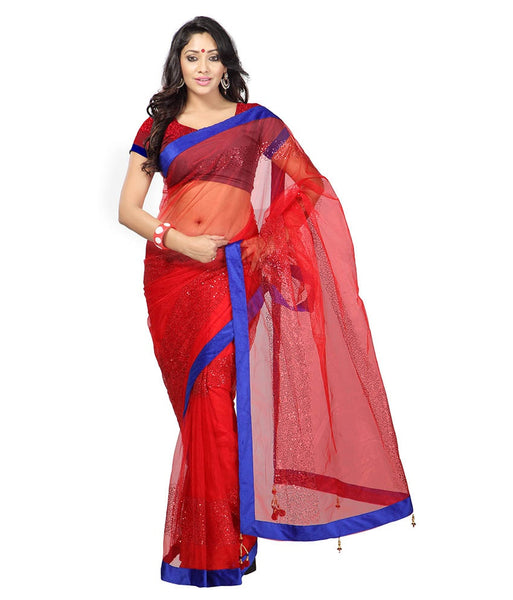 Red Color Net Saree Designed With Embroidery & Lace Work