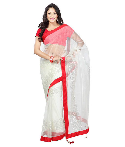 White Color Net Saree Designed With Embroidery & Lace Work