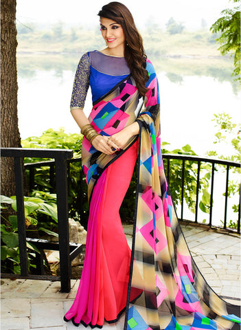 Pink & Multicolored Palav Part Designer Georgette Printed Saree with Designer Blouse