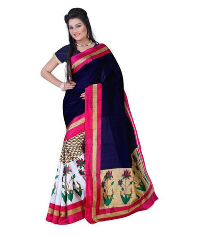 Designer Multicolor Art Silk Bollywood Printed Silk Sarees For Women