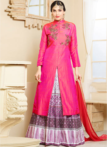 Designer Pink Embellished Kurta Skirt Dupatta Set Festival Offer