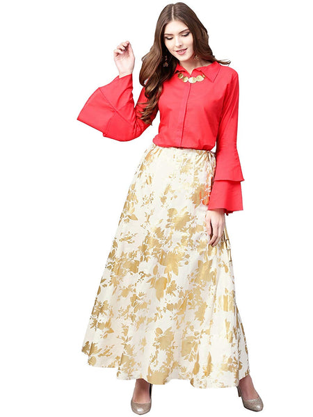 Shirt Top With Long Skirt Set - Indowestern Red Shirt With Off White & Gold Skirt Set