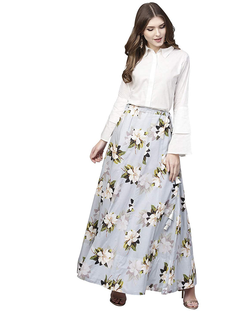 c3e403fe46a6e7 Shirt Top With Long Skirt Set - Powder Blue Floral Cotton Skirt with W –  Lady India