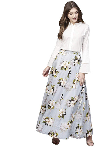Shirt Top With Long Skirt Set - Powder Blue Floral Cotton Skirt with White Top