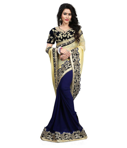 fs-18-designer-half-&-half-style-georgette-sarees-embroidered-border-work-festival-sarees-with-embroidered-blouse