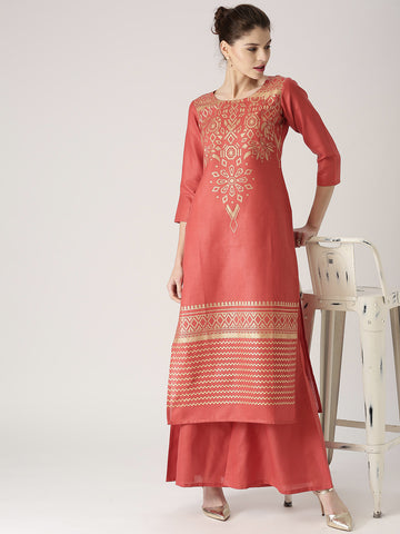 Shop Online Palazzo Suits Designer Coral Red Golden Print Kurta With Palazzos