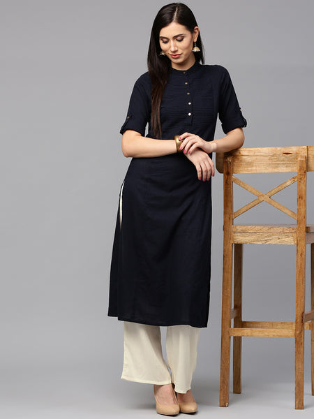 Shop Online Palazzo Suits Mandarin Collar Style Navy & Off-White Kurti With Plazo