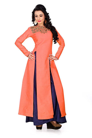 Shop Online Palazzo Suits Orange & Navy Blue Front Slit Open Salwar Suit For Girl