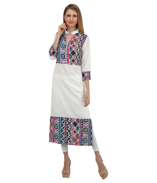 Printed Crepe Kurtis Casual White Long Straight Kurti And Kurtas For Girl