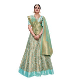 Sky Blue Wedding Ghagra Choli Machine Embroidered Designer Lehenga Choli