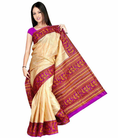 Bhagalpuri Art Silk Beige & Red Printed Silk Sarees For Women