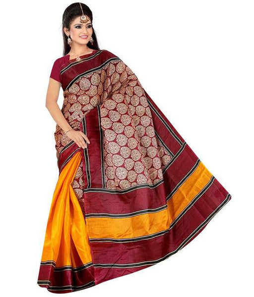 Bhagalpuri Art Silk Yellow & Red Printed Silk Sarees With Broad Border For Women