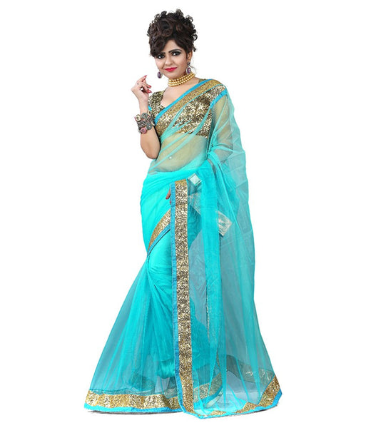 Sky Blue Color Plain Net Saree Designed With Golden Lace Border Work Designer Net Sarees