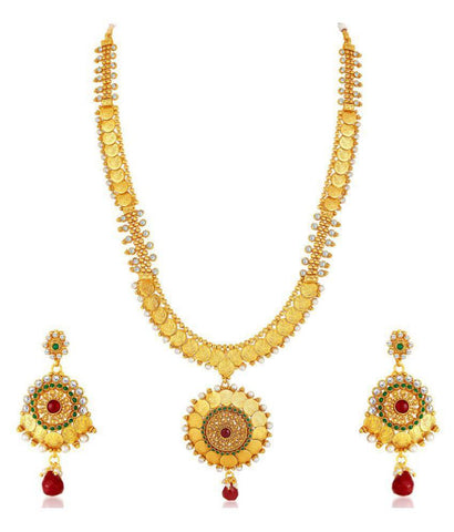 Festive Party Collection Gold Plated Temple Coin Necklace Set