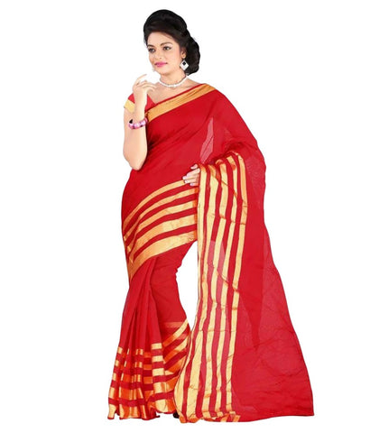 Designer Red Cotton Sari With Golden Lines Print Casual Wear Pure Cotton Saree For Women