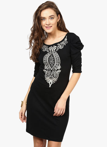 black-embroidered-shift-dress-3/4th-sleeves-designer-dress-sft09