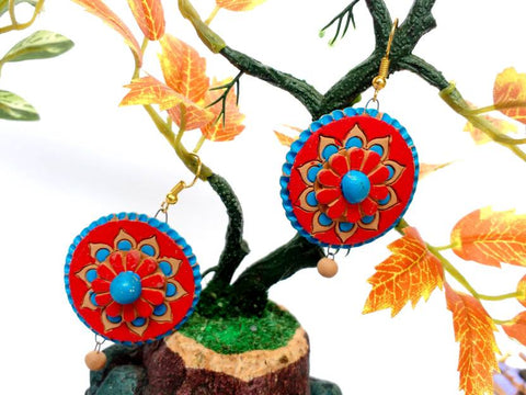 Latest Design Red Flower Terracotta Dangle Earrings Terracotta Jewellery Designs