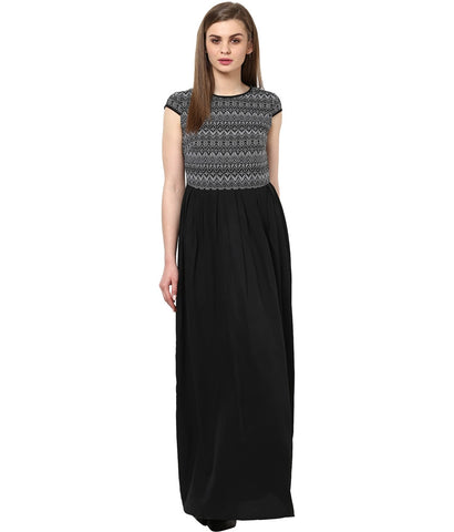 Designer Partywear Black Maxi Dress Polyester Maxi Dress For Women With Lura Print