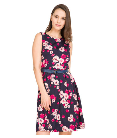 Latest Casual Multicolor Polyester Floral Print Sleeveless Midi Dress With belt