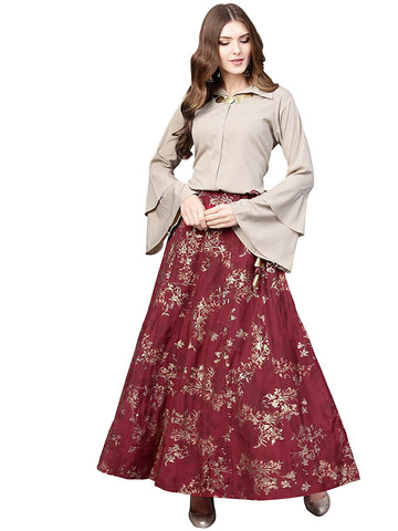 Top With Long Skirt Set - Indowestern Beige & Maroon Shirt With Skirt Set