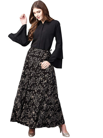 Top With Long Skirt Set - Indowestern Black Shirt With Skirt Set