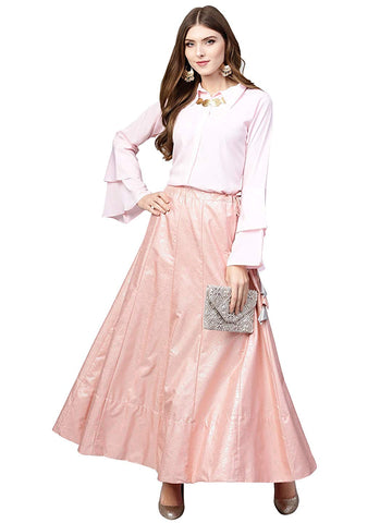Top With Long Skirt Set - Indowestern Light Pink & Gold Shirt Skirt Set