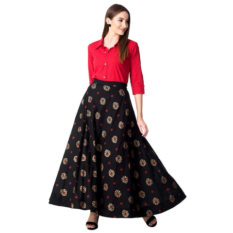Top With Long Skirt Set - Women's Rayon Party Wear Top With Long Skirt Set