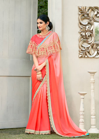 Trendy Cape Saree Blouse Thread Embroidered & Stone Work Cape Saree Online