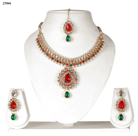 Trendy Choker Jewellery Online Green & Red Colored Alloy With Moti & Diamond Choker Necklace