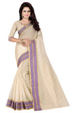 Trendy Cream & Purple Check Print Poly Cotton Sarees