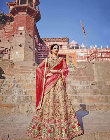 Trendy Ghagra Choli Bridal Beige Color Royal Art Silk Heavy Floral Embroidered Semi Stitched Lehenga Choli