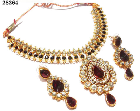 Trendy Necklaces For Women Maroon Colored Alloy With Moti & Diamond Opera Necklace